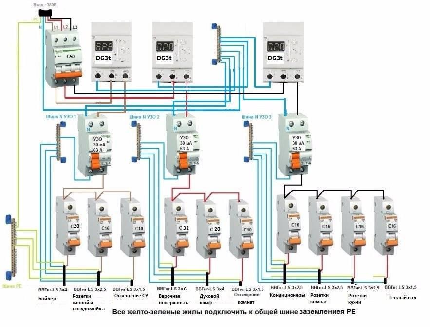 Схемы подключения узо в однофазной и трехфазной сети: варианты монтажа и правила безопасности