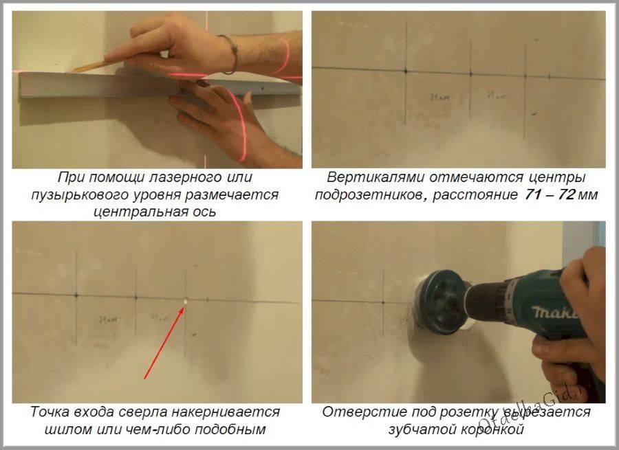 Как своими руками установить подрозетник для гипсокартона: расстояние между точками и варианты крепления коронки