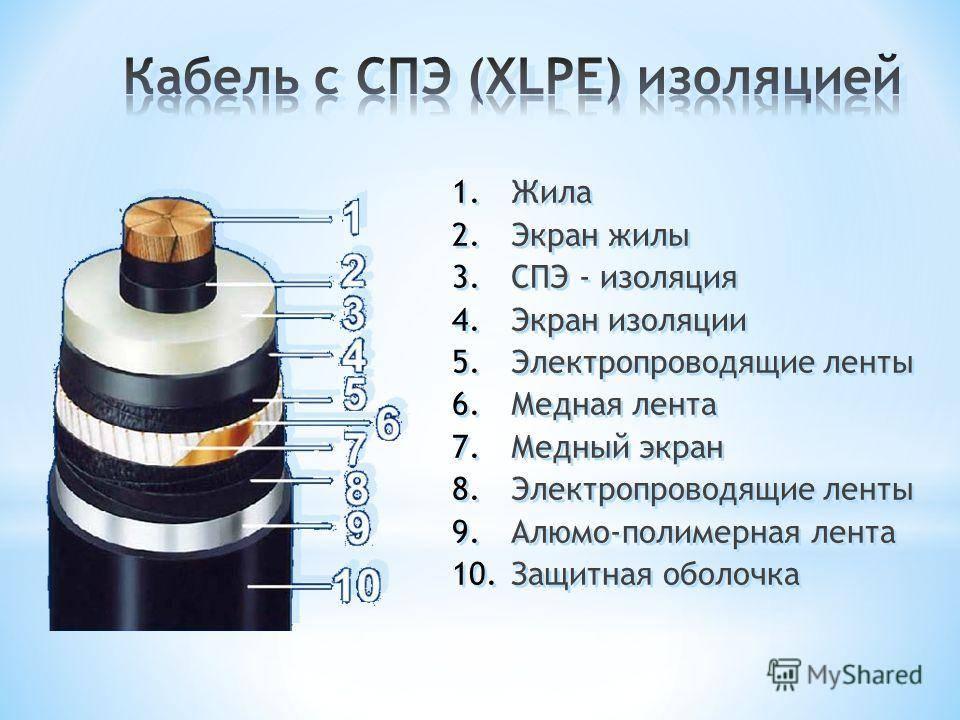 Кабель из спэ. условия применения кабеля с изоляцией из сшитого полиэтилена, характеристики, конструкция кабеля из спэ.