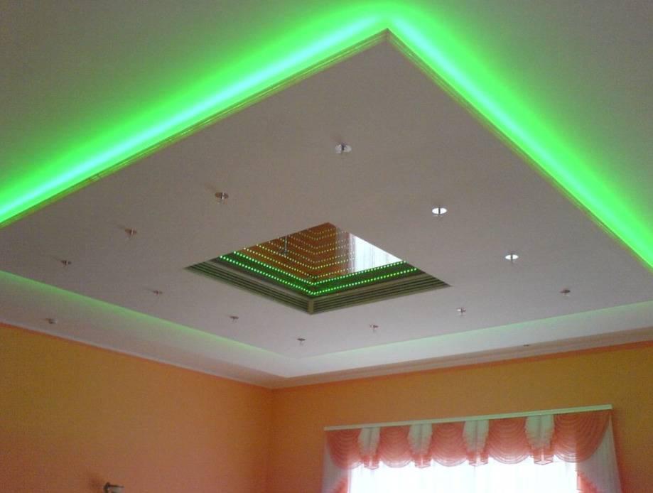 Потолок из гипсокартона с подсветкой: инструкция как сделать короб своими руками, видео и фото