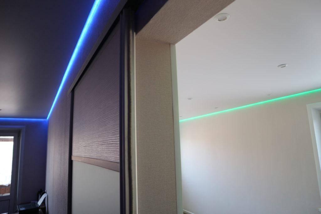 Как делают парящие световые линии на натяжном потолке