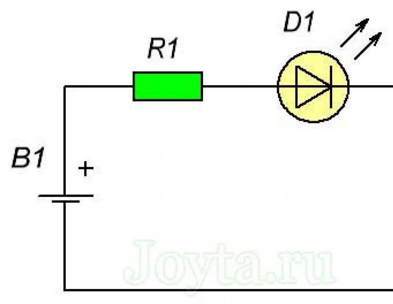 Подключение светодиода через резистор и его расчет