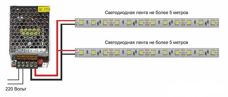 Лента светодиодная: как подключить, схема подключения к блоку питания