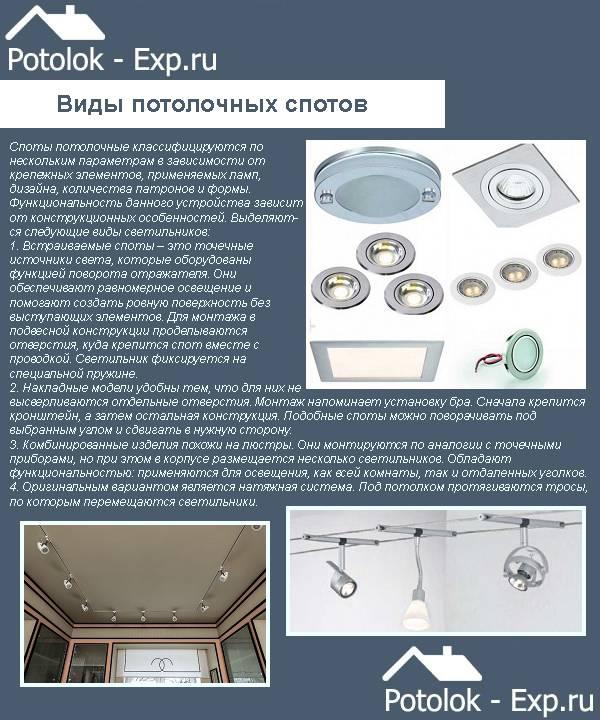 Точечные светильники для натяжных потолков – как выбрать и установить потолочные элементы (115 фото)