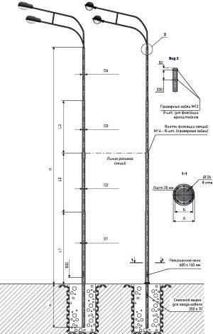 Сколько метров фонарный столб в высоту