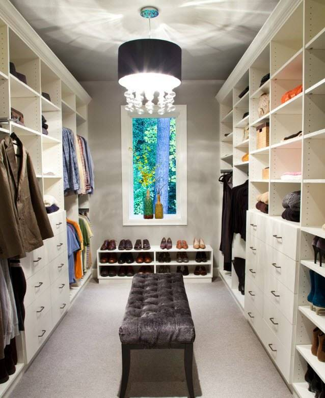 Освещение в гардеробной: зонирование, типы светильников и их расположение