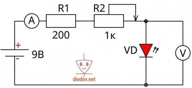 Схема подключения светодиода к сети 220в