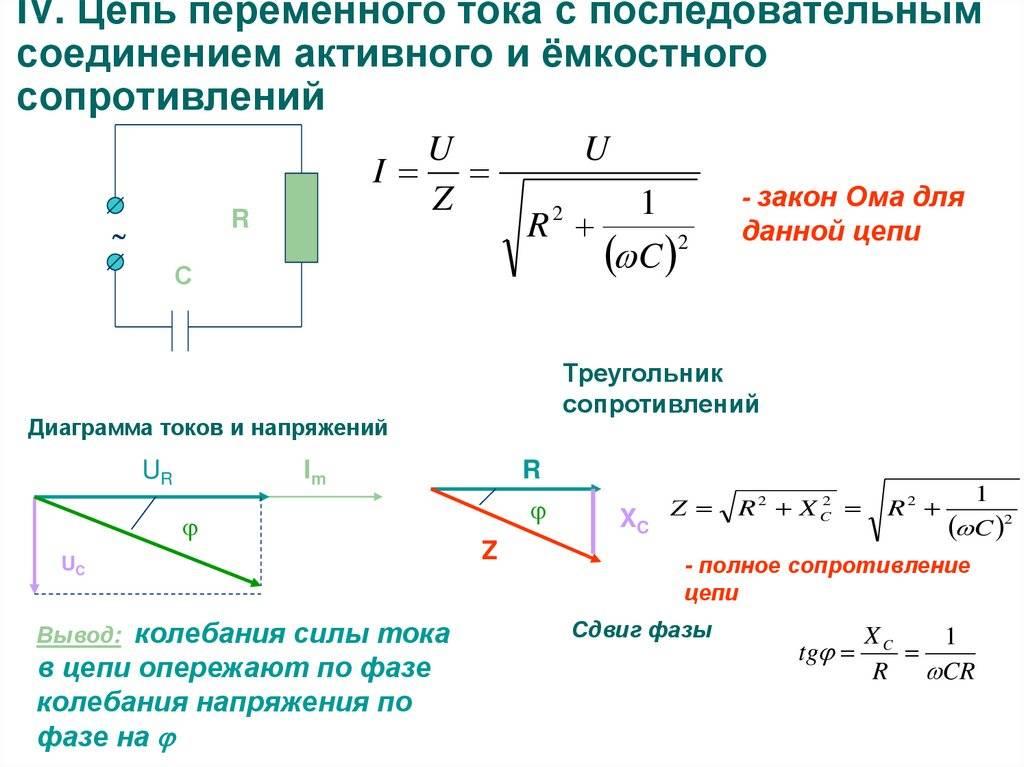 Формула ёмкостного сопротивления для цепи переменного тока