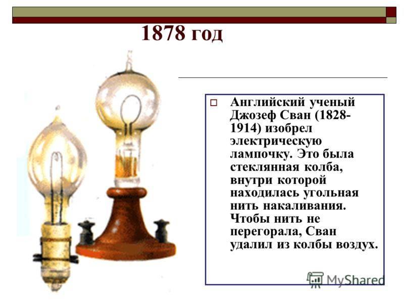 Кто создал лампу накаливания. кто на самом деле изобрел электрическую лампочку