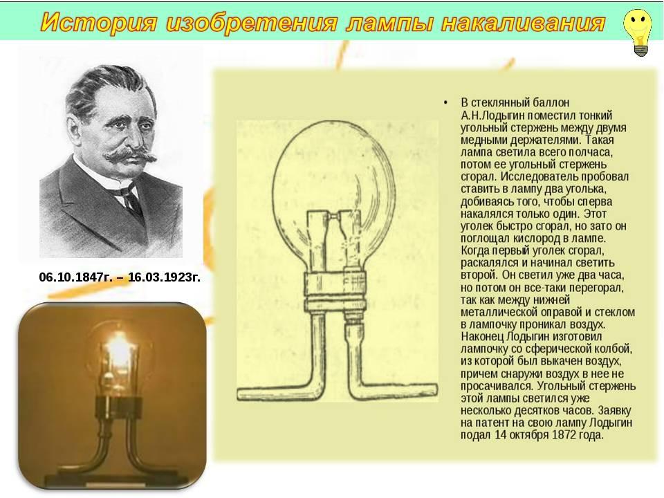 Первые изобретатели электрической лампочки: кто изобрел ее первым