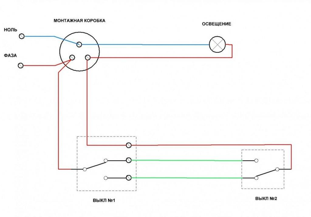 Возможности и область применения схемы с 2-мя проходными двухклавишными выключателями