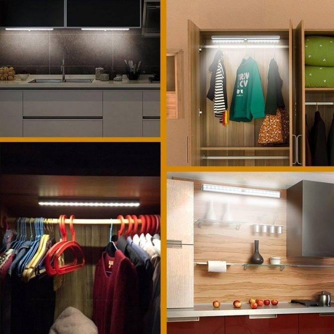 Простая светодиодная подсветка шкафа при открытии дверей