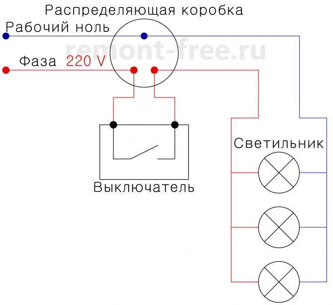 3 схемы подключения бра