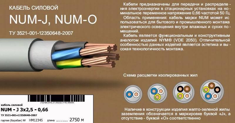 Кабель нум - технические характеристики, маркировка и достоинства