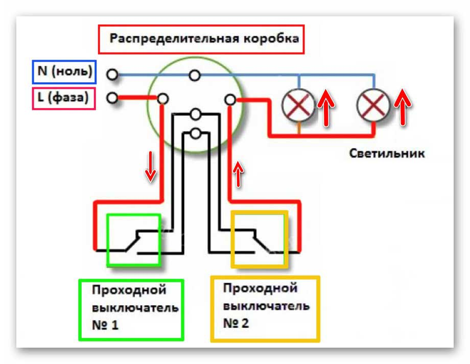 Проходной выключатель - схема подключения на 2 клавиши, фото и видео