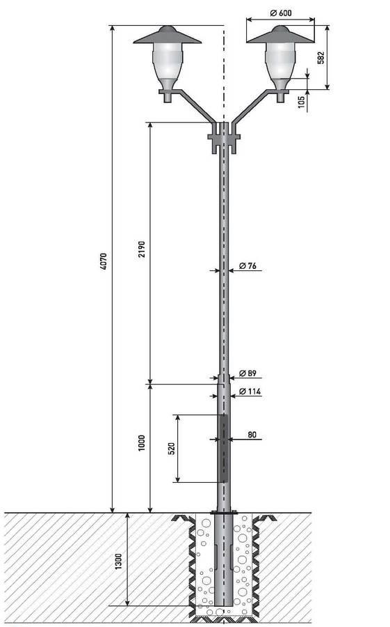 Высота фонарного столба и его другие характеристики
