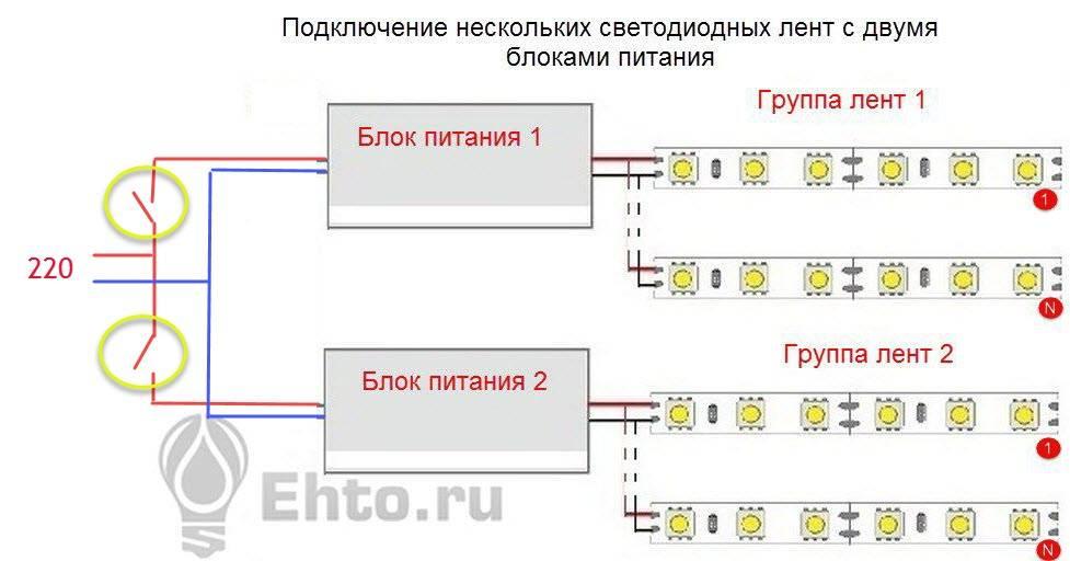 Схема подключения светодиодной ленты 220в к сети: правильный монтаж подсветки