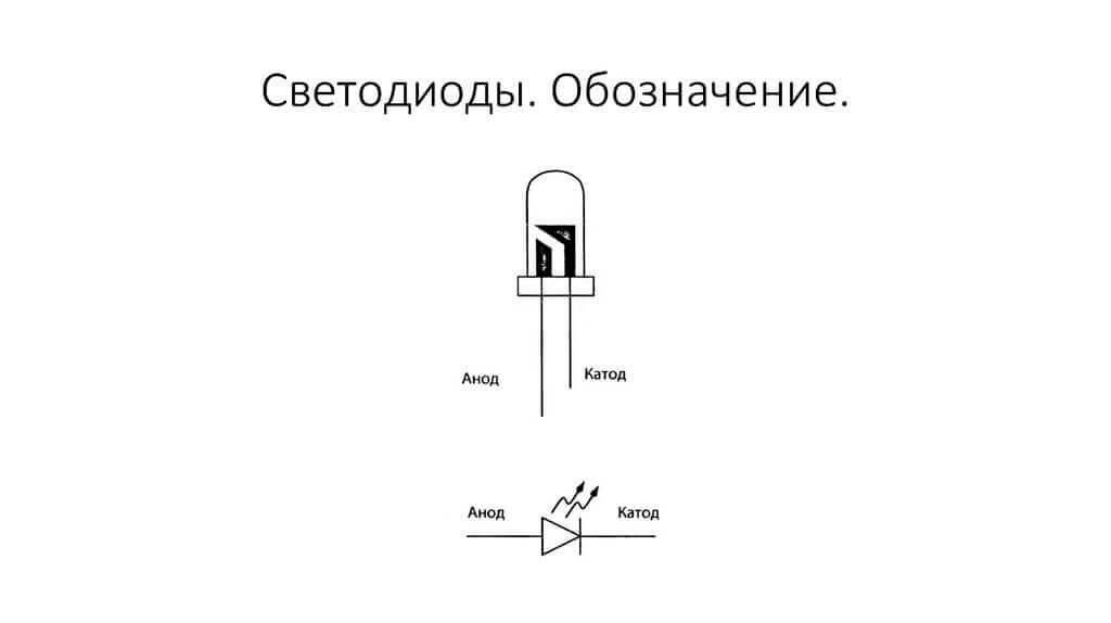 Определение полярности светодиода