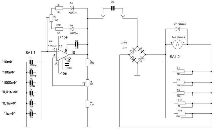Схема цифрового измерителя емкости конденсаторов