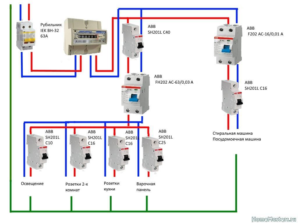 Схема подключения узо к 1-фазной сети с заземлением