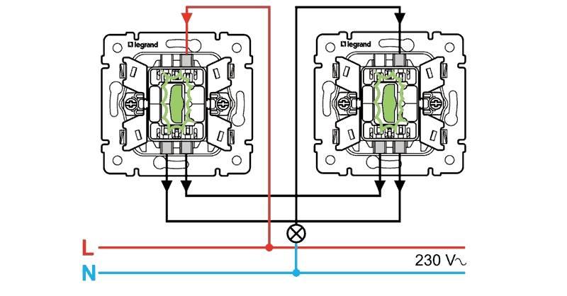 Проходной выключатель: схема подключения на 2 клавиши + советы по выбору и подключению