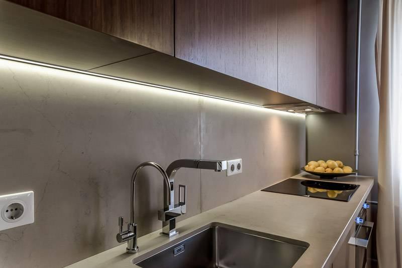 Светодиодная подсветка на кухню под шкафы (фото). особенности монтажа светодиодной ленты