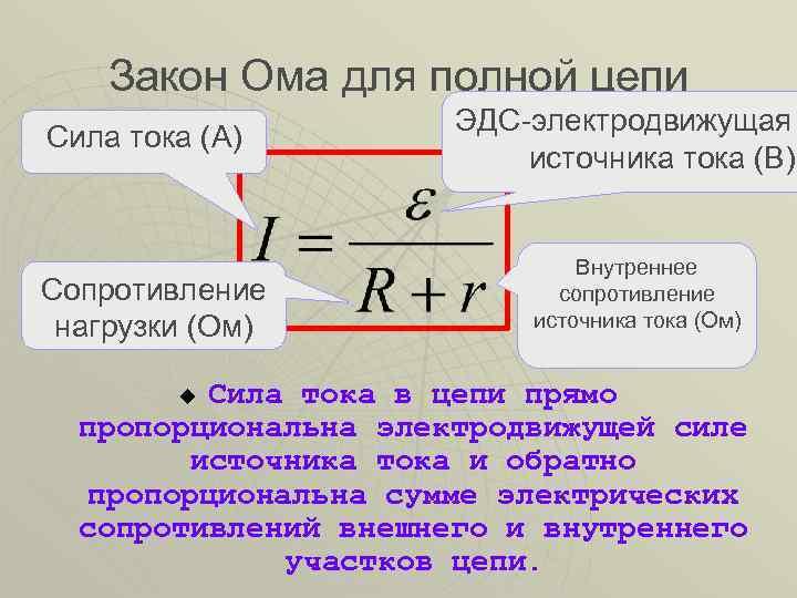 Закон ома ? для участка цепи, формула. закон ома ? в дифференциальной форме для полной цепи и её участка