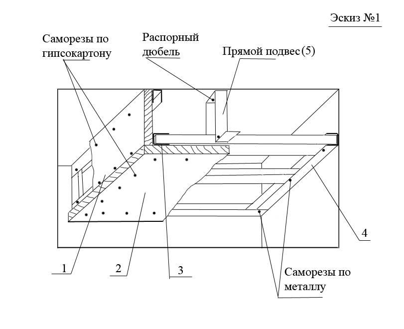 Схема двухуровневого потолка из гипсокартона с размерами и радиусами