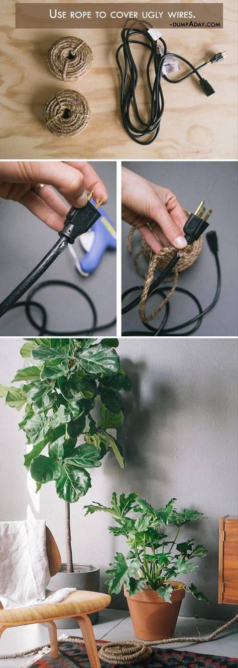Как спрятать провода или декоративно их украсить: чем закрыть на стене, куда убрать множество кабелей, и  какими способами их можно красиво оформить, не штробя стену