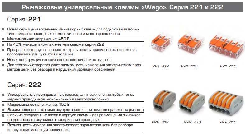 Клеммники wago — виды, характеристики, применение зажимов проводов