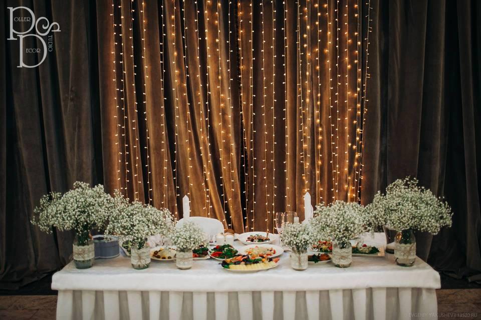 Недорогие идеи украшения зала на свадьбу своими руками