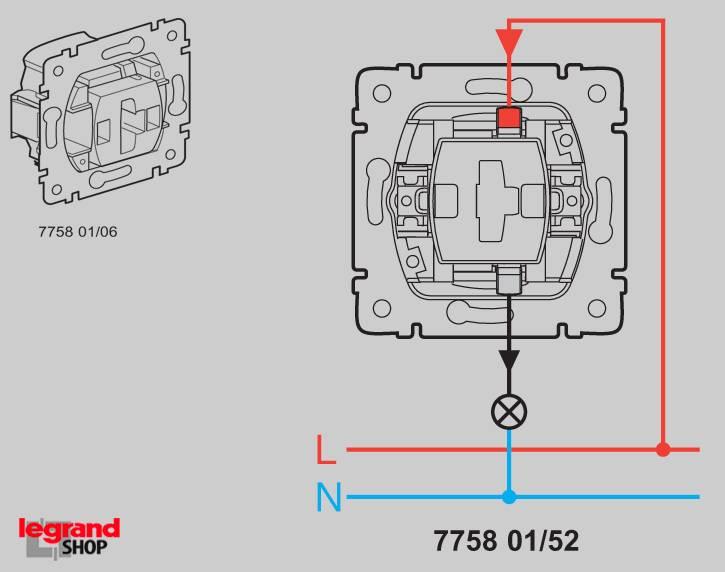 Какие особенности есть у выключателя компании legrand и как можно его подключить?