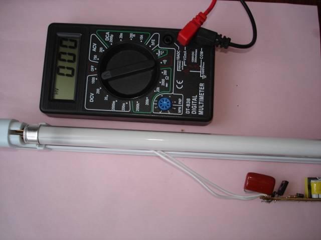 Проверка исправности лампы дневного света и ее элементов