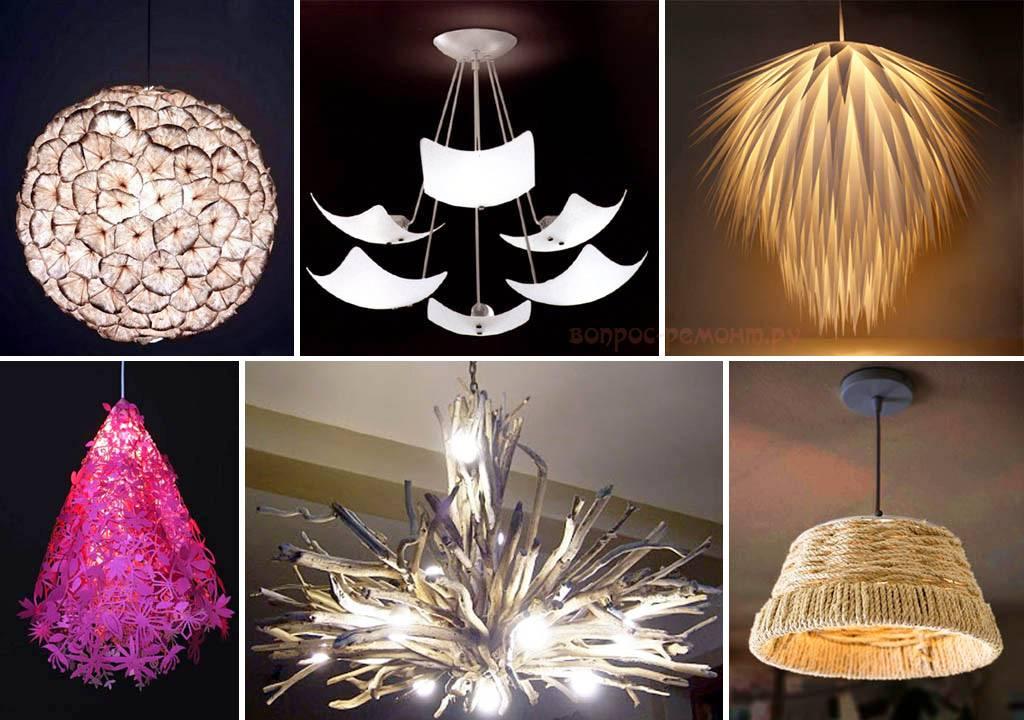 Как сделать потолочную люстру своими руками — идеи осветительных приборов