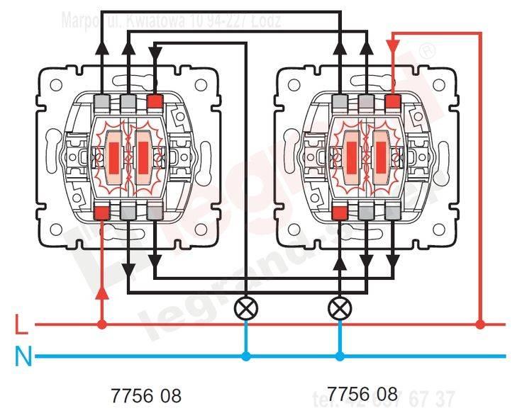 Что представляет собой проходной выключатель legrand, особенности схемы его подключения.