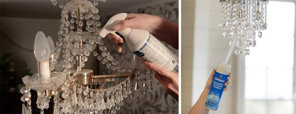 Как помыть хрустальную люстру не снимая с потолка: эффективные средства