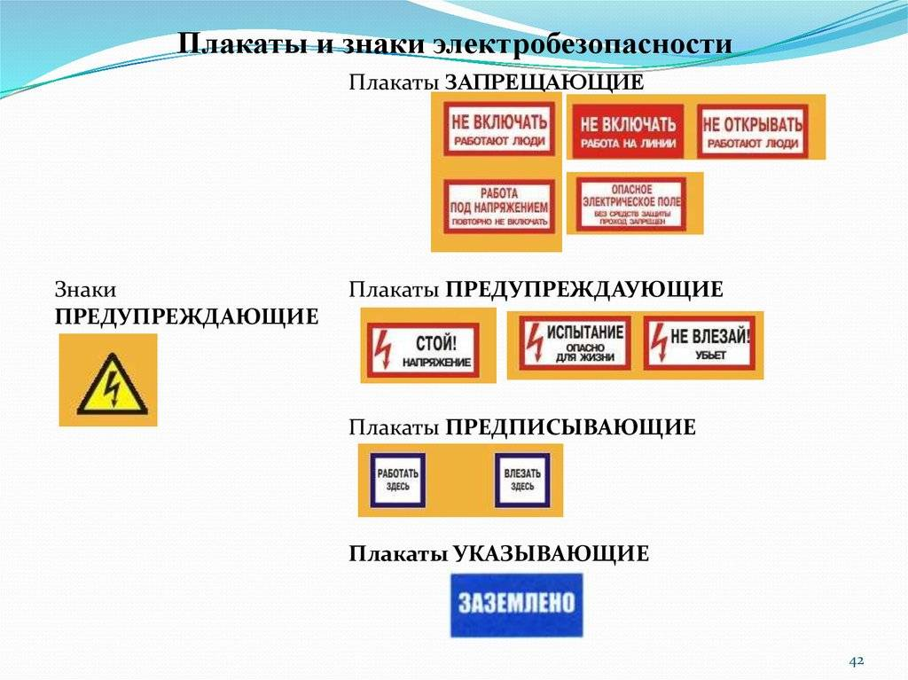 Плакаты по электробезопасности: виды знаков и их значение