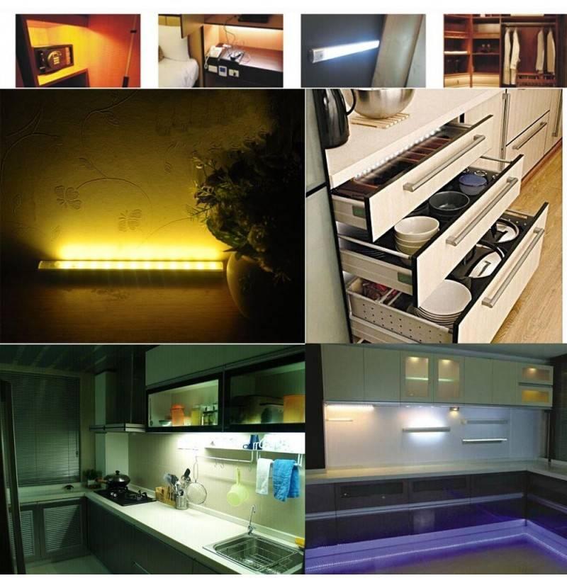Выбор и монтаж подсветки под шкафы на кухне