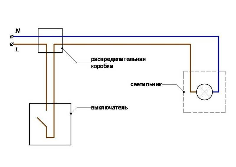 Схема подключения светильника через выключатель - tokzamer.ru