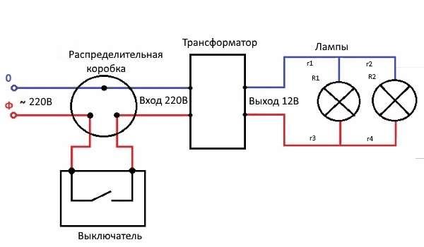 Как подключить галогенную лампу 12v