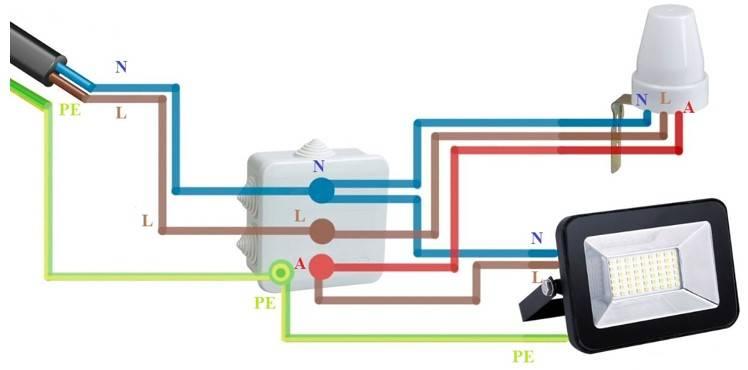 Подключение светодиодного прожектора с тремя проводами - большая стройка