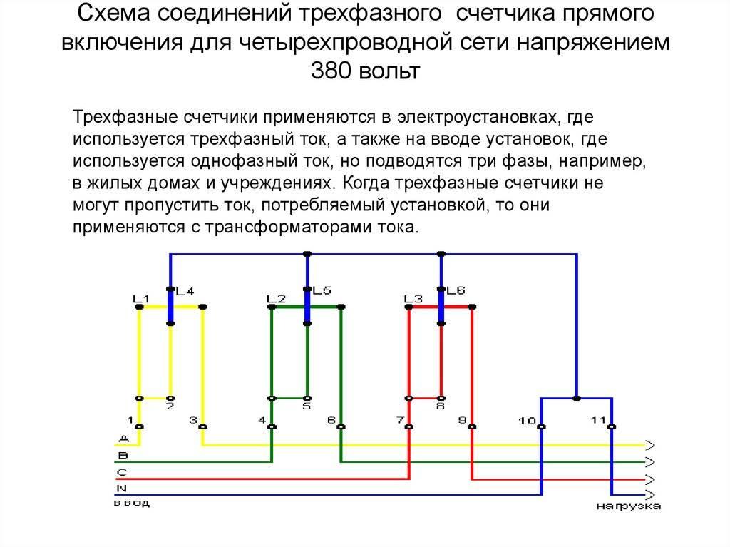Схема подключения трехфазного счетчика через трансформаторы тока - tokzamer.ru