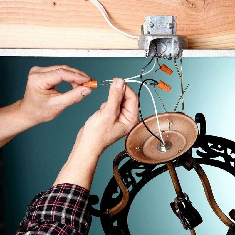 Подключение точечных светильников (схемы соединения проводов)