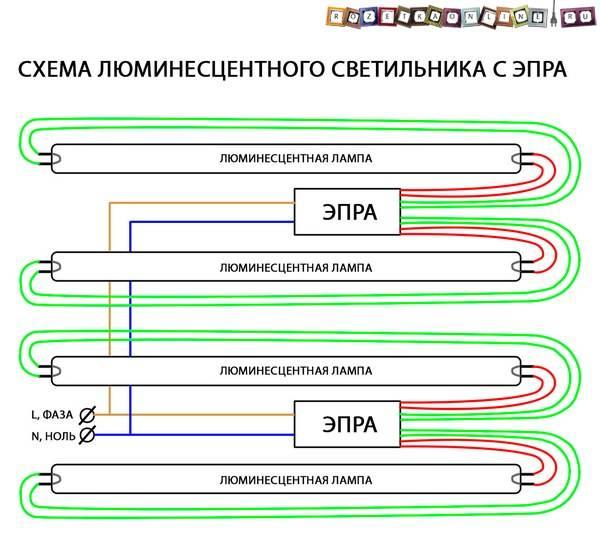 Как подключить лампу дневного света — схемы подключения