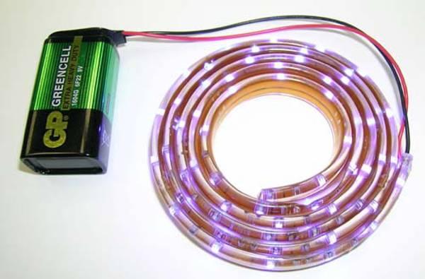 Простая самодельная светодиодная лента на батарейках