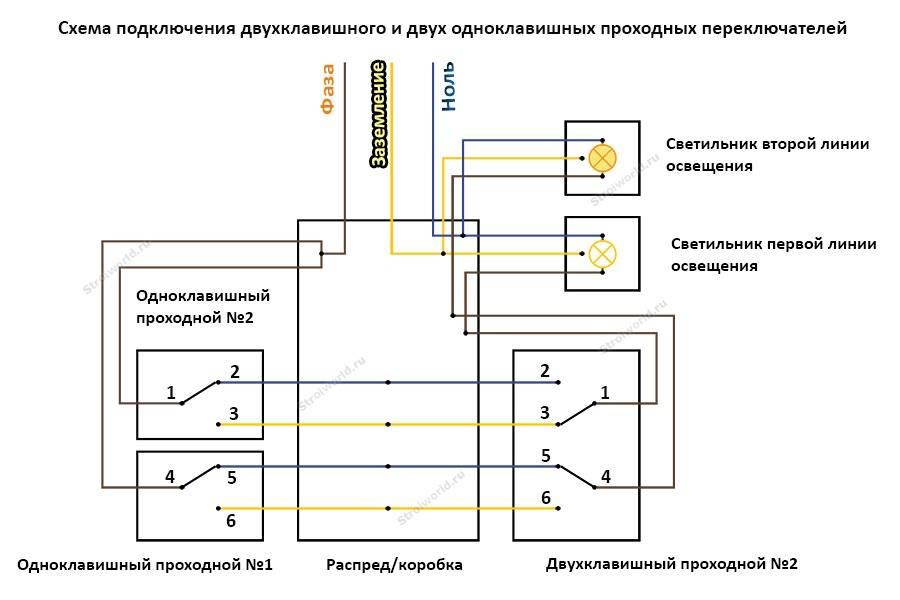 Схема двухклавишных проходных выключателей из двух мест