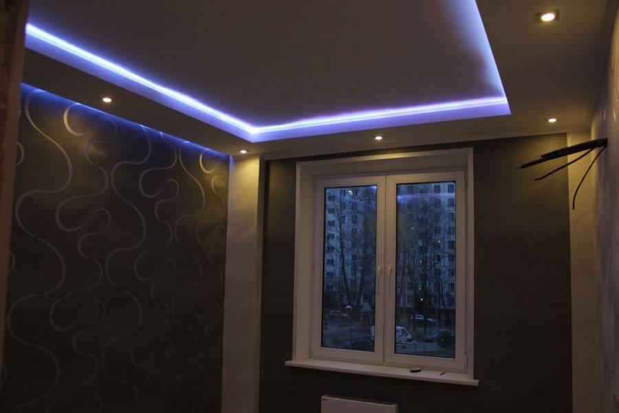 Как сделать потолок из гипсокартона с подсветкой своими руками: двухуровневый и подвесной: пошагово +видео
