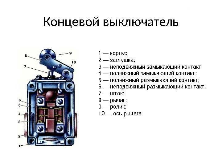 Разновидности и способы подключения концевого выключателя