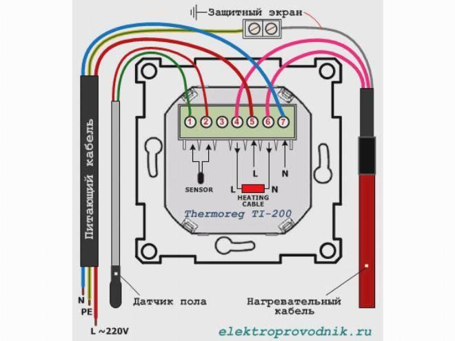 Как подключить теплый пол к терморегулятору: видео, схема, установка системы
