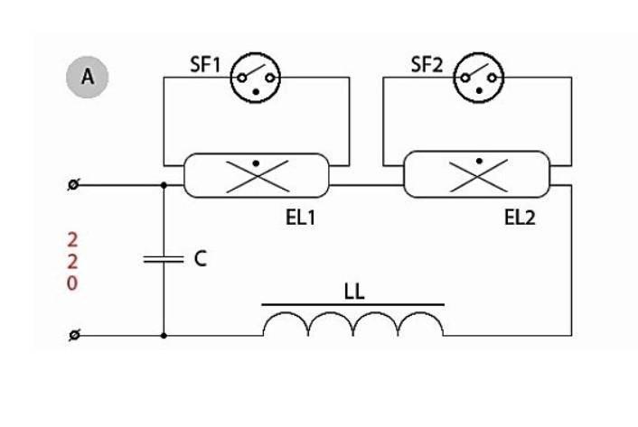 Схема подключения люминесцентных ламп к балласту